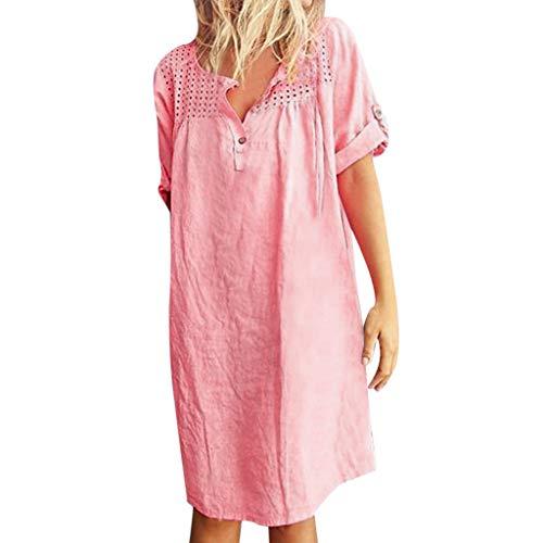FAPIZI Women Summer Retro Solid Loose Boho Linen Ethnic Shirt Dress Hollow V-Neck Daily Paneled Plain Dress Pink