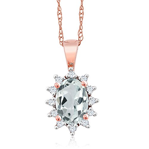 Gem Stone King 18K Rose Gold Sky Blue Aquamarine and White Diamond Pendant Necklace 0.51 Ct Oval with 18 Inch Chain