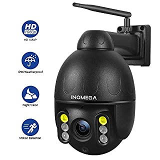 INQMEGA Outdoor PTZ Camera,1080P WiFi Pan Tilt 4.1X Surveillance Security IP Weatherproof Camera with 2 Way Audio Night Vision,Motion Detection,for Backyard/Office/Shop/School/Hospital