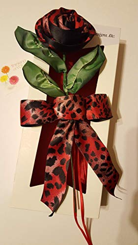 Handmade Stemmed Red and Black Satin Animal Print Ribbon Rose in a White, Red Satin Lined, Window Box