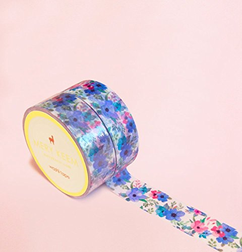 Blue Vintage Summer Flowers Washi Tape for Planning • Scrapbooking • Arts Crafts • Office • Party Supplies • Gift Wrapping • Colorful Decorative • Masking Tapes • DIY
