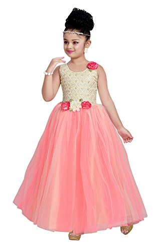 Aarika Girl's Self Design Net and Satin Party Wear Ball Gown (G-2835-GAJRI_24_5-6 Years) by Aarika