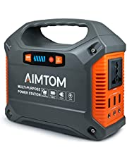 AIMTOM Portable Solar Generator, 42000mAh 155Wh Power Station, Emergency Backup Power Supply W/Flashlights, for Camping, Home, CPAP, Travel, Outdoor (110V/ 100W AC Outlet, 3X 12V DC, 3X USB Output)