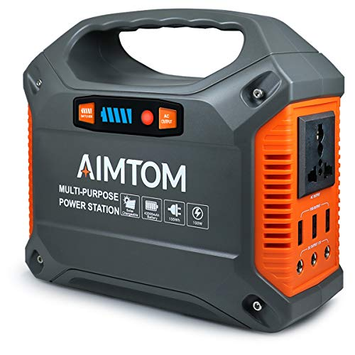 - AIMTOM Portable Solar Generator, 42000mAh 155Wh Power Station, Emergency Backup Power Supply with Flashlights, for Camping, Home, CPAP, Travel, Outdoor (110V/ 100W AC Outlet, 3X 12V DC, 3X USB Output)