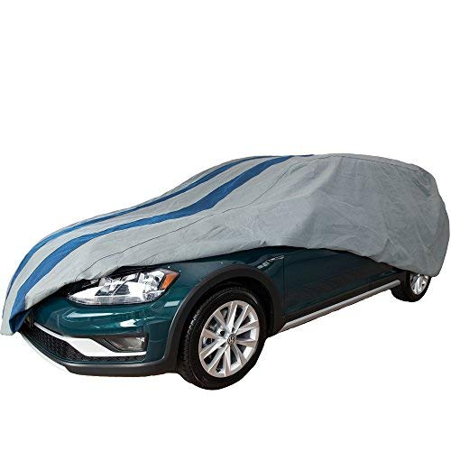 Mercury Sable Station Wagon - Duck Covers Rally X Defender Grey Navy Blue Rally Stripes Outdoor Station Wagon Cover, 4 Layers, All Weather Protection, 4 Year Limited Warranty, fits Wagons up to 16 ft. 8 in. L