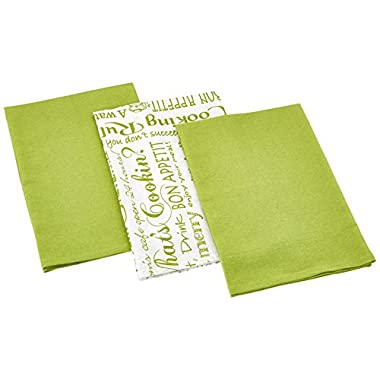 Kay Dee Designs Cook Collection Flour Sack Cotton Towels, 26-Inch by 26-Inch, Lime, Set of 3