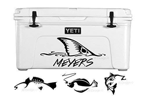 Personalized Vinyl Decal For Yeti Coolers Redfish Trout Flounder And Others