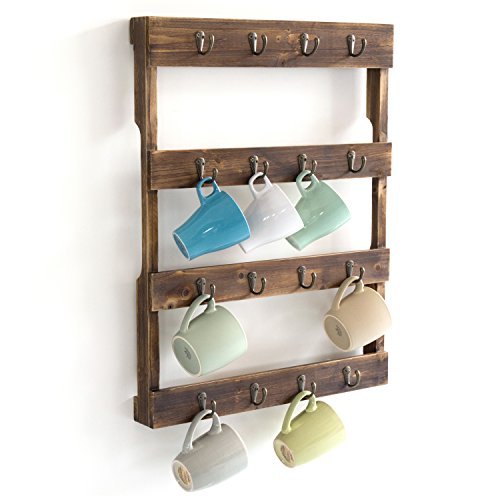 Wall Mounted 12 Hook Torched Wood Coffee Mug Cup Holder Display Rack -