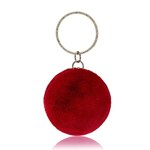 Clutch Color Win Plush Red Purse Evening White Women's Crossbody KERVINFENDRIYUN Round Ball Shoulder Bag TvnW7nqIO