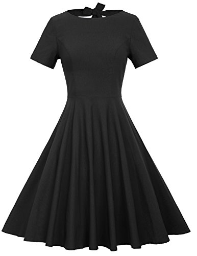 Belle Poque Appliques Vintage Style Dress For Women Black M BP210-1