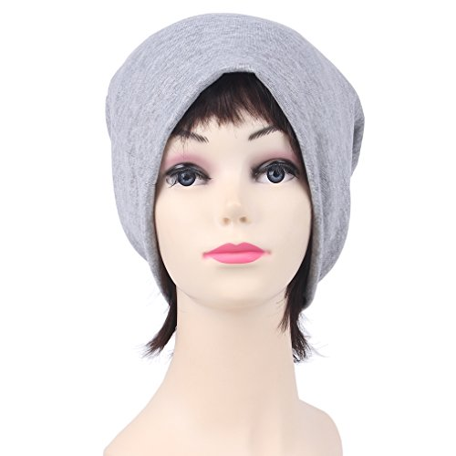 COMVIP cáncer Hombres Beanie moreno Chemo sombrero gris ocasional Cap sólida bufanda de la claro tramo del rHFxwqCrE