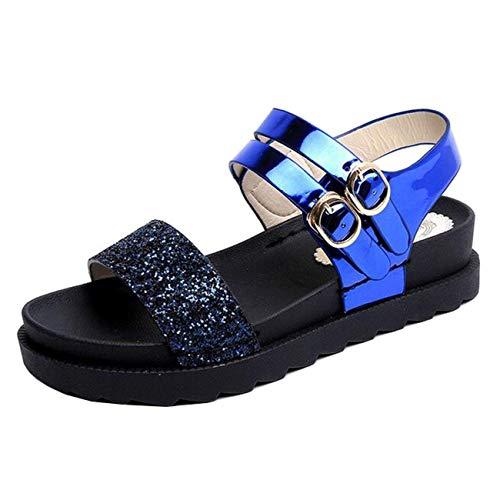 Punta 7 Fibbia Eeayyygch Piatta Da Paillettes Sandali Uk Dimensione Blu Piatte Blu Donna A Con colore fYaIanRwqO
