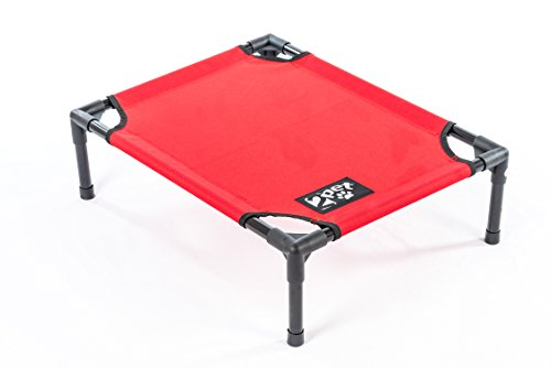 2PET Elevated Pet Bed Cot – Deluxe Cooling Elevated Pet Bed w/ Steel Frame - Provides Maximum Comfort, Good Sleep, Joints Support & Insect Relief– All Seasons. Medium Red - Model EPB06