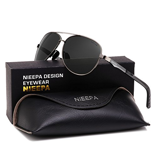 NIEEPA Aviator Polarized Sunglasses Mens Al-Mg Metal Ultra Light Frame Driving Glasses (Grey Lens/Gun (Frame Light Grey Lenses)