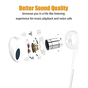 Halcent 2 Pack Premium Wired Earphones Noise Cancelling Earbuds Headphones with Remote & Mic In-Ear Headphones for iPhone, Samsung, iPad, iPod, Nokia, LG, HTC etc (White)