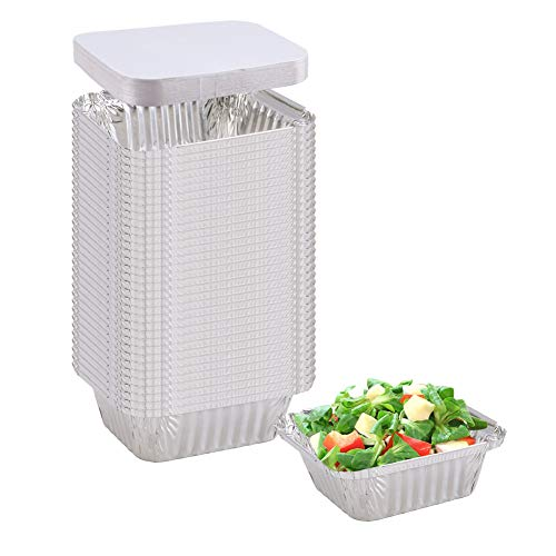 Aluminum Pans (50-Pack) - Durable Aluminum Rectangular Foil Pans Table Deep Pans, With Board Lids, (Outer size: 5.7
