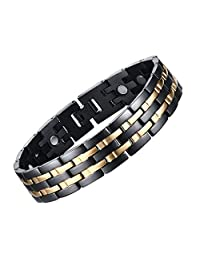 "JFUME Men Magnetic Therapy Bracelet 18K Gold Black with Free Link Removal Tool 8.5"" Adjustable"
