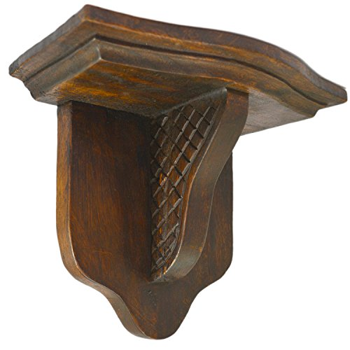 CinMin Handcarved Wood Corbel 10 Inch Bracket and Floating Stand, Madison Oak (Oak Finish Plant Stand)