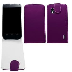 Samrick - Funda de piel con tapa, protector de pantalla y gamuza de microfibra para Nexus 4, color morado