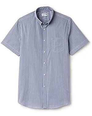 Lacoste Men's Blue Striped Men's Short Sleeve Shirt in Size 44-XL Blue