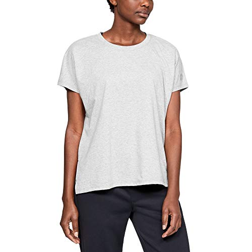 Athlete Top - Under Armour Women's Recovery Tee, Performance Gray (000)/Black, Large
