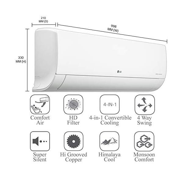 LG 1.5 Ton 5 Star Inverter Split AC (Copper, LS-Q18YNZA, Convertible 4-in-1 Cooling, White)