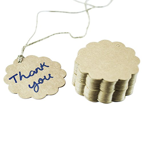 Brown Craft Scalloped Paper Label Tags with Jute Twines String for Birthday Party, Wedding Decoration Gifts, Organizing, Arts & Crafts (100 Pack)