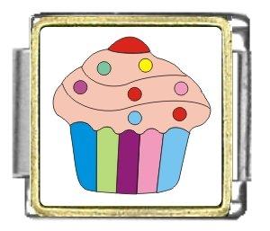 Pink Cupcake Italian Charm Bracelet Link (Cupcake Italian Charm)