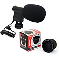 Opteka VM-8 Directional Mini-shotgun Microphone with Opteka 0.35x Hd Professional Macro Fisheye Lens for Canon EOS 60D, 60Da, 50D, 40D, 5D, 1Ds, 1D, Digital Rebel T1i, T2i, T2, XSi, XS, XTi, XT, T3, T3i and T4i Digital SLR Cameras