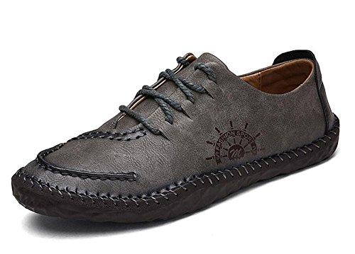 SHIXR Männer Bootsschuhe Britische Männer Casual Schuhe Urban Jugend Tägliches Leben Retro Schuhe Flache Schuhe , grey , 40