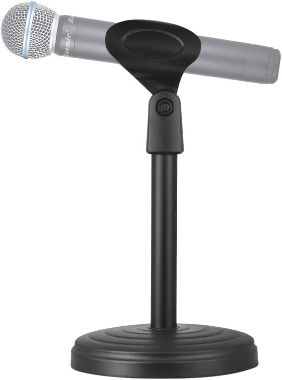 Andoer Portable Fixed Desk Microphone Stand Mic Holder with Clip 205mm Height for Meetings Lectures Podcasts Black