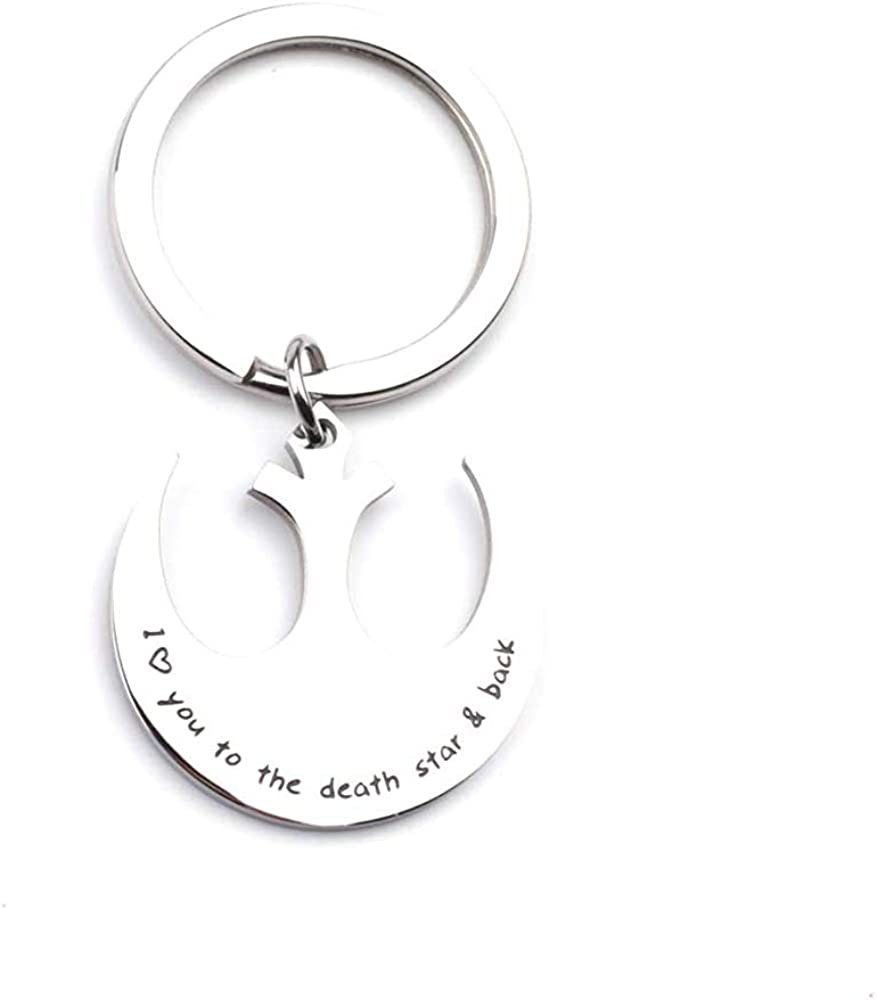 Star Wars I Love You to The Death Star and Back Necklace Keychain Rebel Jewelry Gift for Him