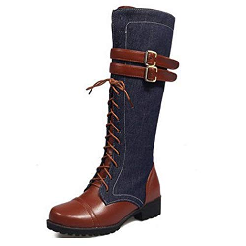 DETAWIN Women Mid Calf Boots Belt Buckle Fashion Lace Up Denim Round Toe Zipper Motorcycle Boots