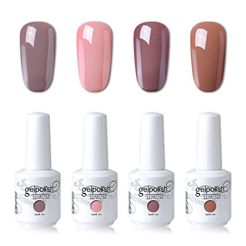 Elite99 Soak Off Gel Polish Lacquer UV LED Nail Art Manicure Kit Nude Color Series Set LM-C101 + Free Gift (20pcs Gel Remover Wraps) (Nail Resistant Enamel)