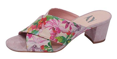 Marion Spath Damen 360-937 Wildleder Elegante Kreuzbandagenpantolette puder/Floral multi