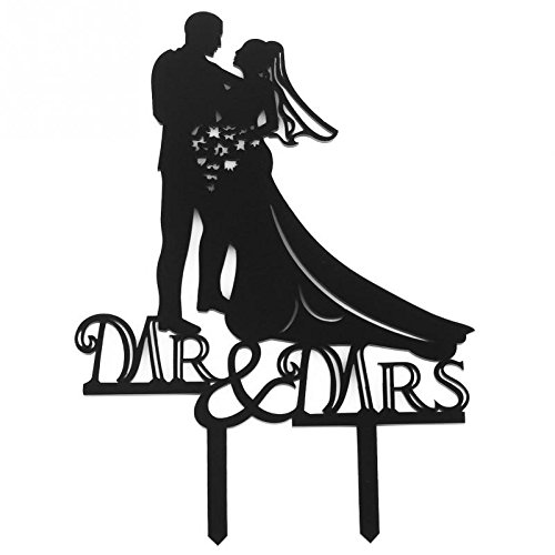 - [USA-SALES] Mr and Mrs Bride and Groom Cake Topper, Wedding Decorations, by Usa-Sales Seller