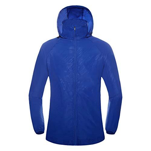 Pongfunsy Womens Mens Windproof Cycling Jackets with Hoodie Bike Reflective Rain Jacket Long Sleeve Bicycle Wind Coat Dark Blue
