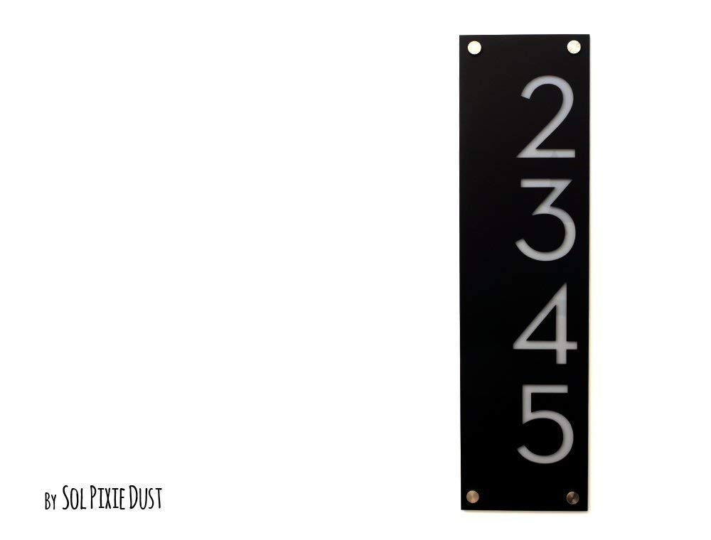 Modern House Numbers, Black Acrylic with Grey Acrylic - Vertical 3 - Contemporary Home Address -Sign Plaque - Door Number