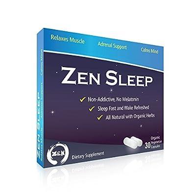 Zen Sleep | #1 Non-addictive Sleep Aid w/ Adrenal Support. Contains Magnesium and Organic Herbs; Chamomile, Lemon Balm, Passion Flower, Holy Basil. No melatonin