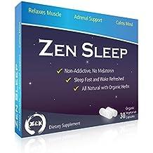 Zen Sleep | #1 Non-Addictive Sleep Aid w/Adrenal Support. Contains Magnesium and Organic Herbs; Chamomile, Lemon Balm, Passion Flower, Holy Basil. No melatonin