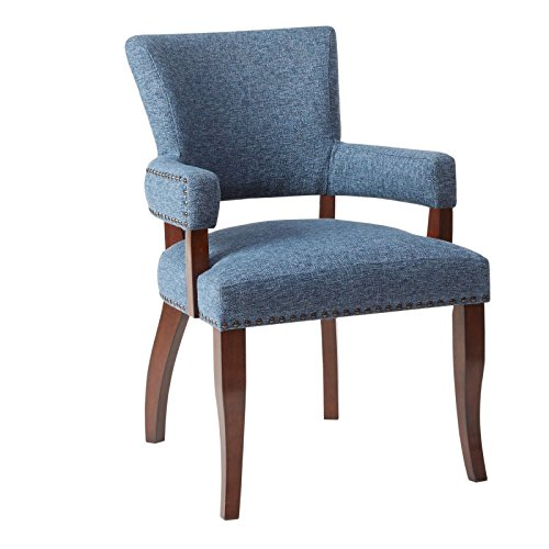 RX-789 Arm Accent Chair Dining Blue Upholstery Traditional (Regency Traditional Chair)