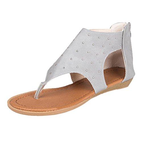 HLHN Women Sandals,Roman Gladiator Rivet Ankle Strap Flat Heel Flip Flops Open-Toe Shoes Casual Vintage Lady Gray
