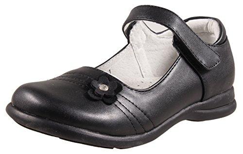 School Shoes Black Leather (LIYZU Girl's Mary Jane Flat School Dress Uniform Shoes Black Strap Size 13 Black)