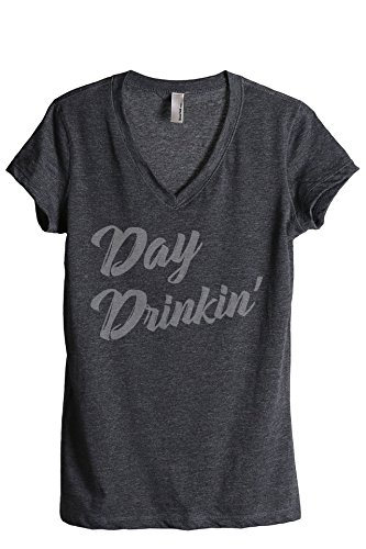 Beer Womens V-neck T-shirt - Thread Tank Day Drinkin Drinking Women's Relaxed V-Neck T-Shirt Tee 2X-Large