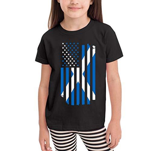 American Scotland Flag Costume Kids Boys Girls Crewneck Short Sleeve Shirt Tee Jersey for 2-6 Toddlers Black]()