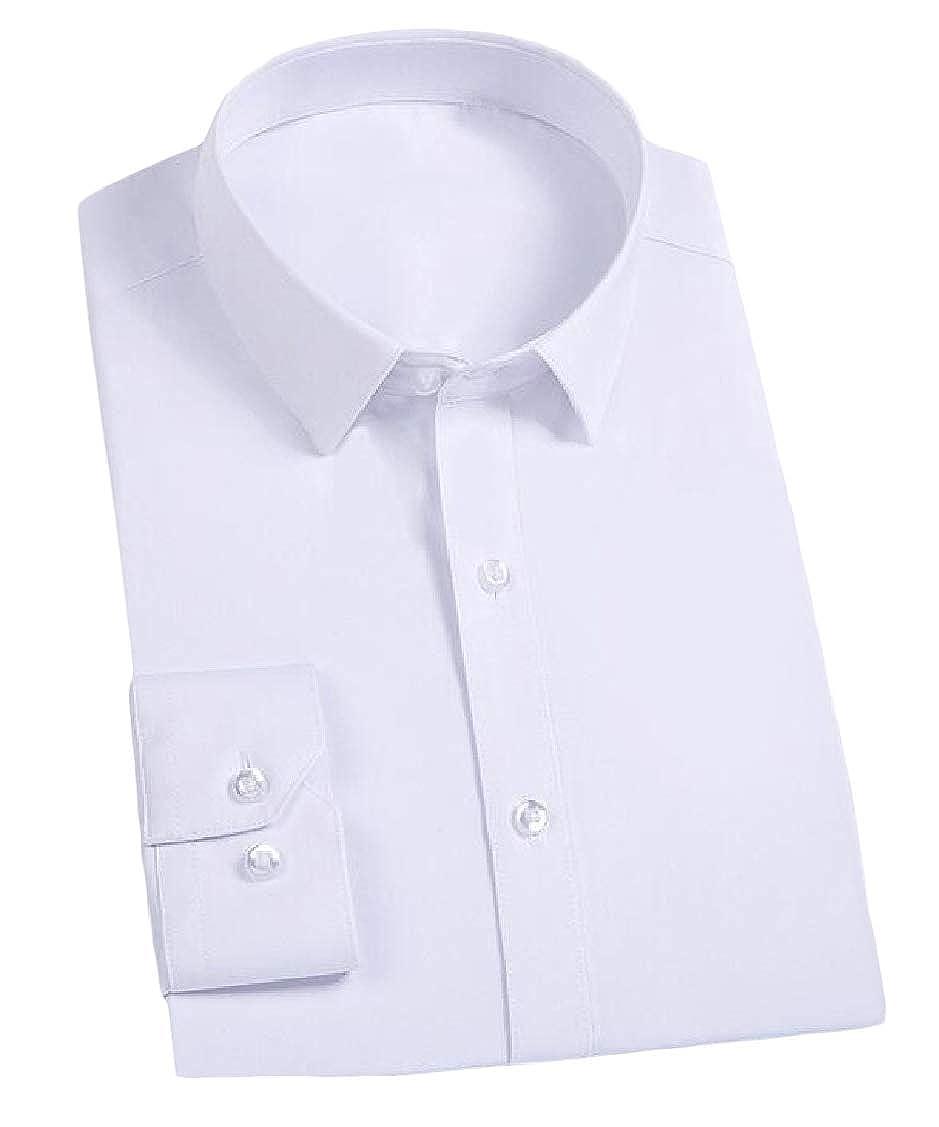 Hajotrawa Men Business Long-Sleeve Button Up Solid Slim Regular Collar Dress Shirt