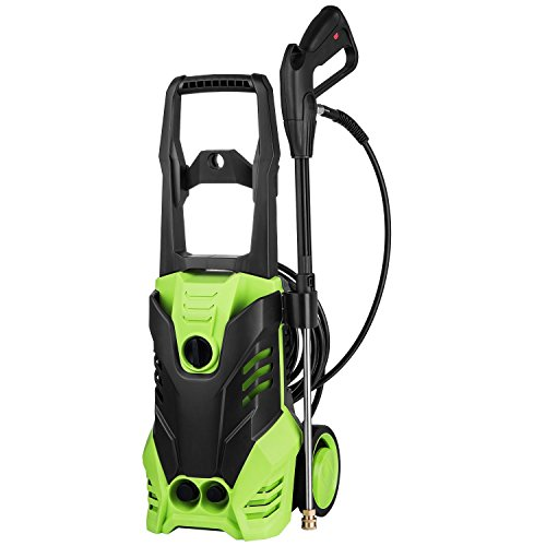 Professional 3000PSI Electric High Power Pressure Washer, 1800W 1.7GPM Cleaning Washer Machine Tool with Rolling Wheels, Power Hose Nozzle Gun & 5 Quick-Connect Spray Tips by Leoneva