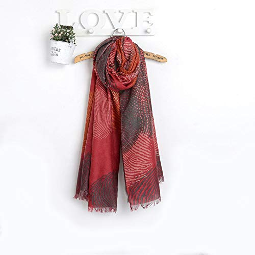 Women's Fashion Blanket Long Cotton Scarf Fingerprints Printed Shawl Wrap Hijab