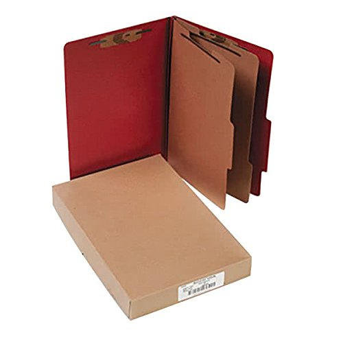 16036 8 1/2'' x 14'' Earth Red 6-Section Pressboard Classification Folder with Prong Fasteners and 2/5 Cut Tab, Legal - 10/Box