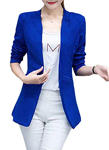 Mujeres Otoño Chaqueta Camisa Con Color Moda Traje Manga Primavera Azul Casuales De Festivo Bolsillos Americana Ocio Elegantes Mujer Blazer Sólido Larga Vintage xqE4zRaw